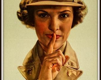 US Army WAC Silence Print World War II