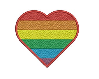 Machine Embroidery Design Instant Download - Heart LGTB Gay Lesbian Queer Pride Rainbow Flag