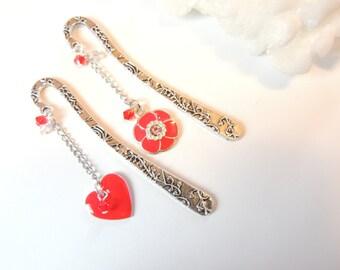 Heart and Flower Bookmark Set of 2, Tibetan Silver Bookmarks, Flower Bookmarks, Metal Bookmarks, Heart Bookmarks.