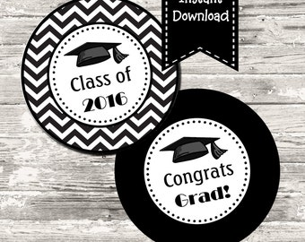INSTANT DOWNLOAD Black White Chevron Graduation Circle Tag Cupcake Topper Digital Printable