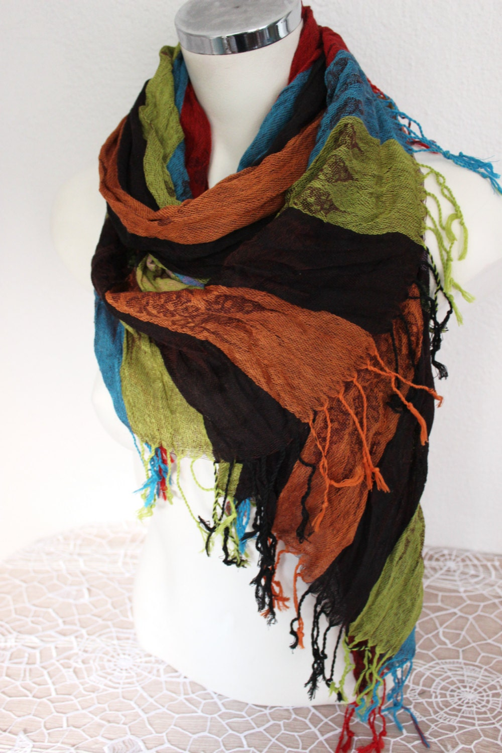 scarf ethnic scarves linen mens gift cotton striped