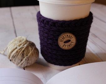 Purple Crochet Coffee Cozy ~ Coffee Sleeve ~ Crochet Coffee Sleeve ~ To Go Coffee Cozy
