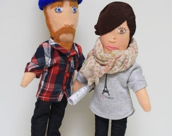Personalized Couple Fabric Dolls Portrait Dolls - Couple custom fabric figurines