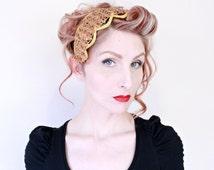 1950s Fascinator / VINTAGE / 50s Hat / Gold / Sequins / Headpiece / Pretty