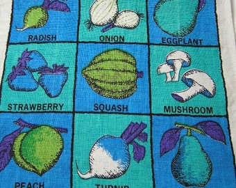 1960s Vintage Linen Tea Towel, Design by Bill Brister, Fallani & Cohn, Fruits, Berry, Vegetable, Rich Color Print, Blue, Turquoise, Purple
