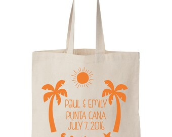 12x DESTINATION WEDDING tote bag - Welcome bag - personalized beach bag - vacation - bulk - customized - wedding favor - screen printed tote