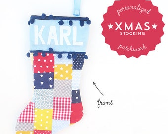Handmade Personalized Patchwork Christmas Stocking