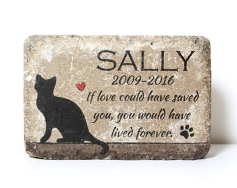 PERSONALIZED CAT Memorial Stone. 6x9 Burial Marker. Tumbled (Concrete) Paver Stone. Indoor/ Outdoor Cat Memorial. Custom Cat Sympathy Gift.