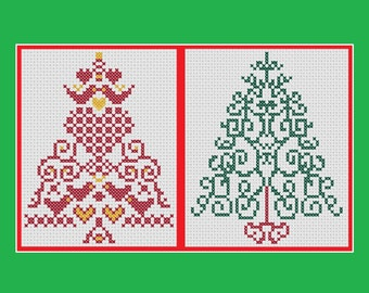 Christmas cross stitch patterns: two Christmas tree designs