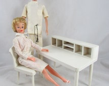 Hall's Lifetime Toys Desk and Chair 1960s Doll Furniture White Wood