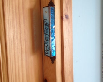 HANDMADE MEZUZAH CASE Special Light Blue Color & Circles Filligree.Stained Glass,Wall Hanging,Ethnic Decor,Jewish Housewarming/Wedding Gift