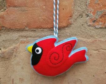 Handmade felt cardinal bird ornament