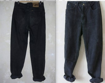LEE riders small black wachsed out boyfriend fit vtg denim pants
