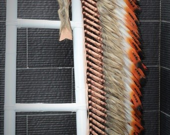 READY FOR HALLOWEEN . Z13 Extra Large Three color Brown Feather Headdress (43 inch long ).