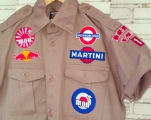 Hand Reworked Vintage Boy Scouts of Nippon Shirt with Patches / Patched Shirt Men Size: M