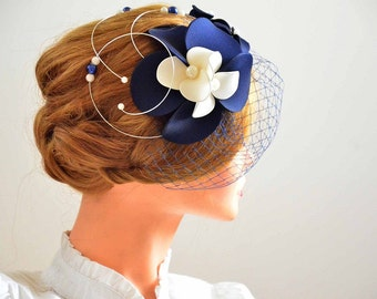 Large fascinator hat  Navy blue wedding headpiece Flower headpiece Wedding fascinator Wedding hair flower