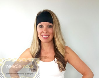 The Black Yoga Headband - Spandex Headband - Boho Wide Headband