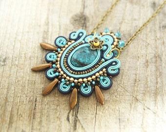 Blue soutache pendant, azure soutache pendant, blue embroidered necklace, blue soutache jewelry, soutache embroidery, azure necklace
