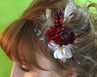 "cranberry and silver floral with silver and feather accents clip ""Tia"""