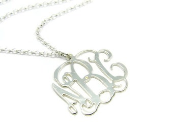 """Monogram Necklace. 1.5"""" Personalized Initial necklace. Sterling silver 925 monogram necklace. Monogram jewelry. Initial jewelry. Gift ideas"""