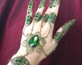 Emerald Hand Flower Chain Bracelet