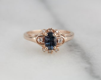 Sybil in Atlantic Blue: Rose Gold Sapphire Halo Ring From The Elizabeth Henry Collection  5PHK51-R
