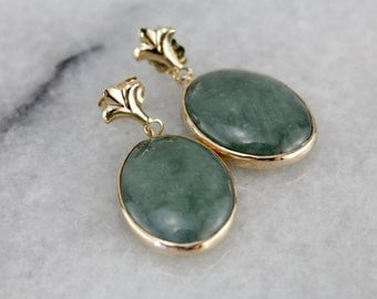 1930s Jade Drops, Converted to Beautiful Modern Earrings with a Fleur de Lis Flair  E2Y1AC-P