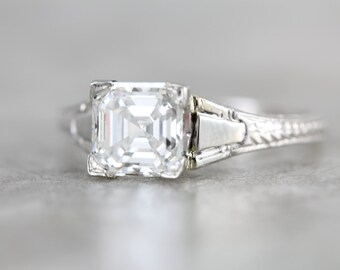 Asscher Cut Diamond, GIA Certified, in Art Deco Architectural Engagement Ring, 18 Karat White Gold ZMD6V3-P