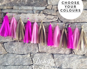 Pink, Gold & Fuchsia Tissue Tassel Garland 2m Birthday Decoration