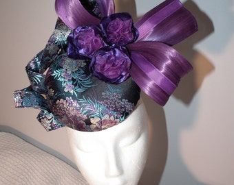 PURPLE ASIA new latest millinery design beautiful spring racing races headpiece purple blue black bow oriental Designer Melbourne Cup floral