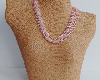 Peachy pink necklace, seed bead necklace, pink seed bead necklace, blush pink necklace, wedding necklace, peach, bridesmaid jewelry,gift