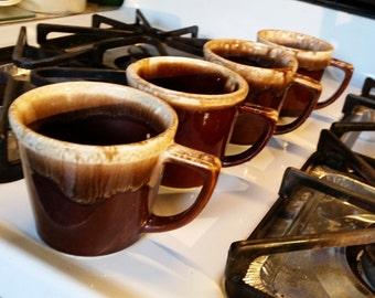 Mugs 4 Brown Mid Century Drip Glaze McCoy & Kathy Kale IK Vintage Cups