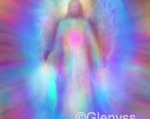 JESUS LOVES YOU- Healing, Spiritual Painting on Canvas,  A3 Signed Giclee Print - Angelic Artwork by Glenyss Bourne
