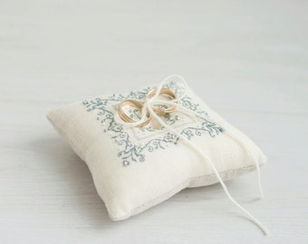 Wedding Ring Pillow - Wedding Pillow - Ring Bearer Pillow - Embroidered Ivory Beige Ring Pillow