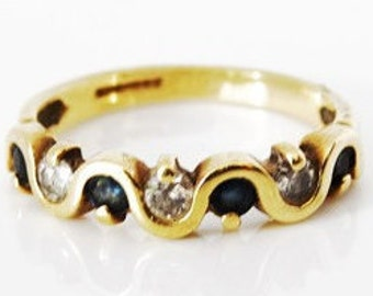 Modern Ladies Blue Sapphire and Diamond Engagement or Eternity Ring in 9ct Yellow Gold FREE POSTAGE Included