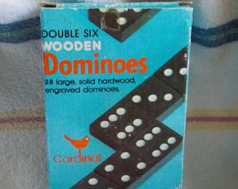 Vintage Double Six Wooden Dominoes Cardinal Brand