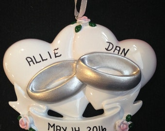 Personalized Wedding Hearts and Rings Ornament