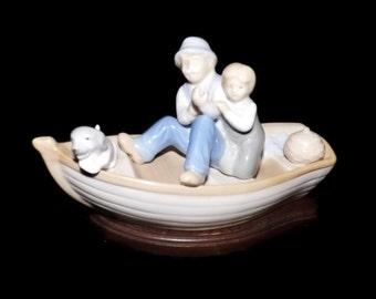Vintage Meico Inc Grandpa and Grandson on Fishing Trip Figurine, Porcelain, Wood Base, Boat, Knick Knack, Keepsake, Collectible , Sweet Boys