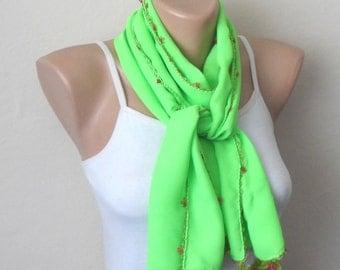 green phosphorous scarf flower ribbon pink green cotton turkish yemeni oya handmade