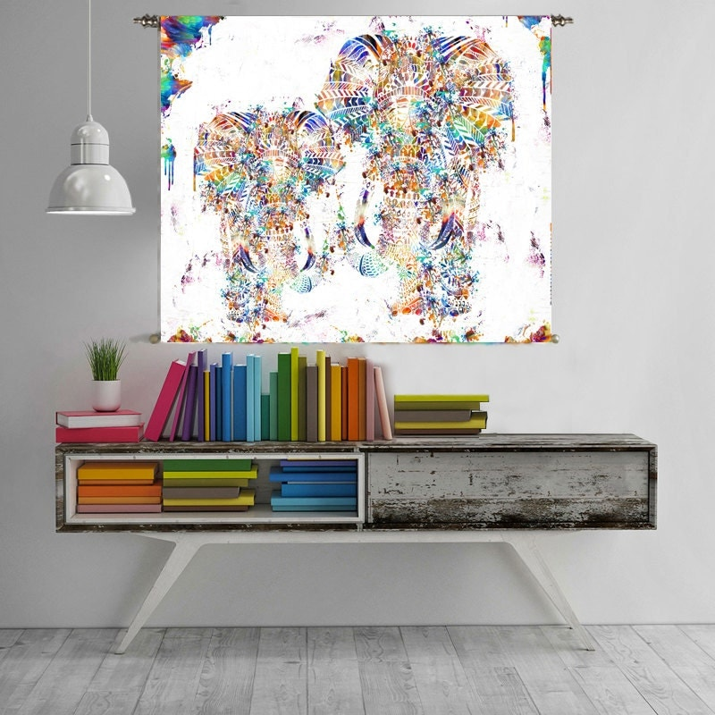 L phant decor mandala g om trique tapisserie tenture murale for Decoration murale geometrique