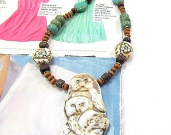 Owl Necklace, Beaded Ceramic Owl Necklace, Native American Inspired Necklace, Turquoise and Coconut Shell Necklace, Twin Owl Necklace