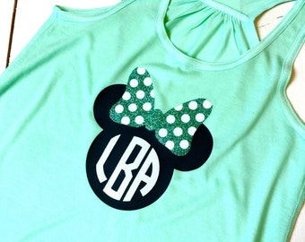 Minnie Mouse Bow Flowy Racerback Tank Top Monogram Disney Trip Bachelorette Party Family Reunion Mint Teal Green Lovers