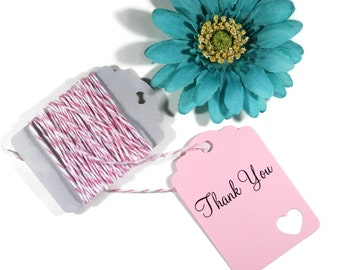 Light Pink Thank You Tags Set of 20 - Die Cut Gift Tags - Favor Tags - Light Pink Wedding Tags - Pink Custom Wedding Favors - Heart Themed