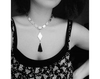 Tassel necklace, silver plated necklace, rhombus necklace, silver chocker necklace, boho silver necklace, nulika, pendant choker
