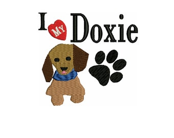 embroidery design  Dachshund dog  heart my embroidery design