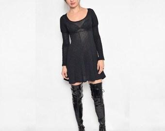 Vintage 90's Sheer Black Mini Dress / See Thru Black Dress / Long Sleeve Sheer Dress