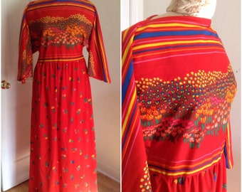 1970s Red Floral Maxi Dress Vintage, size small, medium 4 6 boho dress, hippie dress, vintage red dress, vintage clothing for women