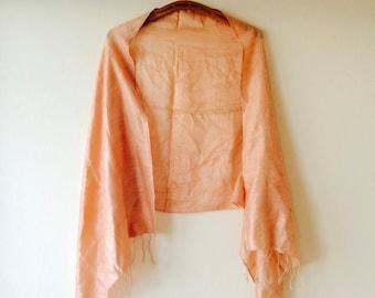 FLASH SALE! 30 % off. Peach raw silk boho hippie gypsy piano fringe shawl.