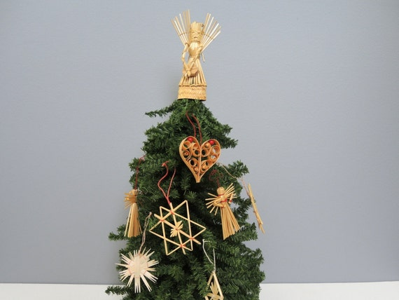 Vintage german straw christmas tree ornament collection 7 - Traditional german christmas tree decorations ...