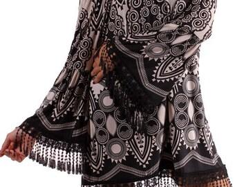 Black & Ivory Fringe Tunic - Plus - (Only 3X Available)
